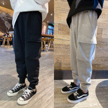 trousers Pudding pudding male Black, grey spring and autumn trousers leisure time There are models in the real shooting Sports pants Leather belt middle-waisted cotton Don't open the crotch Cotton 95% polyurethane elastic fiber (spandex) 5%