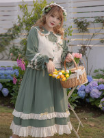 Women's large Spring 2021 Cream dress, green dress, cream vest, green vest Large XL, 2XL, 3XL, 4XL Dress Two piece set Sweet easy moderate Long sleeves other 18-24 years old Embroidery Mori
