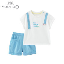 suit Yeehoo / English male summer leisure time Short sleeve + pants 2 pieces Thin money No model Socket nothing Cartoon animation cotton children Expression of love Class A Chinese Mainland