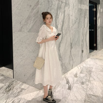 Dress Summer 2020 white M L XL XXL longuette singleton  Short sleeve commute Doll Collar High waist Socket Big swing routine 25-29 years old Type A Yi Baibai Korean version Hollow lace Y9765 More than 95% Lace cotton Cotton 95% polyester 5% Pure e-commerce (online only)