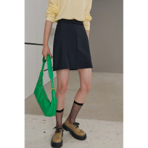 skirt Spring 2021 S,M,L,XL,. Navy Blue Short skirt street Natural waist A-line skirt Solid color 71% (inclusive) - 80% (inclusive) other Dff.t/dafengfeng silk Europe and America