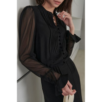 Dress Spring 2021 Black, black (pre sold in early May) 36/XS,38/S,40/M,42/L,44/XL longuette singleton  Long sleeves street Crew neck middle-waisted Solid color Socket other routine Others Type H Dff.t/dafengfeng Pleats, buttons More than 95% other other Europe and America