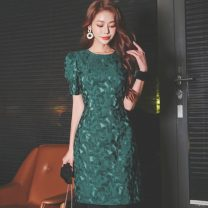 Dress Spring 2020 green S,M,L,XL Middle-skirt singleton  Short sleeve commute Crew neck middle-waisted other Socket Princess Dress Princess sleeve Others 25-29 years old Type X Other / other Korean version HNW7828 81% (inclusive) - 90% (inclusive) brocade nylon