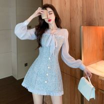 Dress Spring 2021 grey S M L Short skirt singleton  Long sleeves commute square neck High waist Socket One pace skirt 18-24 years old Type A Aier pigeon Korean version fold B2 More than 95% other Triacetate fiber (triacetate fiber) 100%