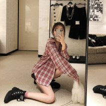 Fashion suit Autumn of 2018 XS,S,M,L Check red (shirt) 3 days in stock, sexy red (BRA) 3 days in stock, denim black (half skirt) 3 days in stock 25-35 years old LIN CHAO ZHANG 81% (inclusive) - 90% (inclusive)