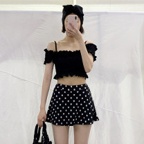 Split swimsuit other Black dots M,L,XL Skirt split swimsuit Steel strap breast pad female One word collar