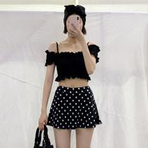 Split swimsuit other Black dots M,L,XL Skirt split swimsuit Steel strap breast pad female One word collar