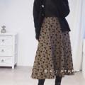 skirt Winter 2020 S,M,L coffee longuette commute High waist A-line skirt Type A 25-29 years old B1041 Chiffon polyester fiber Flocking