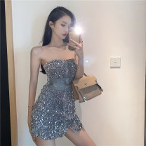 Dress Autumn 2020 Silver, black S, M Short skirt singleton  Sleeveless street One word collar High waist zipper One pace skirt other Breast wrapping 18-24 years old Type H Other / other Backless, stitching, sequins 81% (inclusive) - 90% (inclusive) other polyester fiber Europe and America