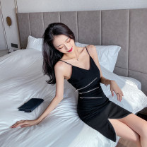 Dress Summer 2020 black S,M,L Short skirt singleton  Sleeveless commute V-neck High waist Solid color zipper One pace skirt other camisole 18-24 years old T-type Korean version Open back, chain, stitching 30% and below brocade polyester fiber