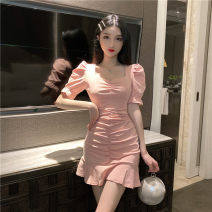 Dress Summer 2020 White, pink S, M Short skirt singleton  Short sleeve street V-neck High waist Solid color zipper Pencil skirt puff sleeve Others 18-24 years old T-type fold 30% and below brocade polyester fiber Europe and America