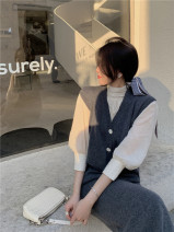 Fashion suit Spring 2021 S. M, l, average size Apricot shirt, vest, skirt 18-25 years old 71% (inclusive) - 80% (inclusive) wool
