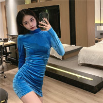 Dress Spring 2021 Blue, black S, M Short skirt singleton  Long sleeves commute Crew neck High waist Solid color Socket One pace skirt routine 18-24 years old Type H Simplicity Splicing 30% and below velvet polyester fiber