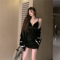 Fashion suit Winter 2020 M, L Black coat, suspender skirt 18-25 years old 30% and below polyester fiber