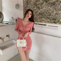 Dress Spring 2021 Pink S,M,L Short skirt singleton  Long sleeves commute V-neck High waist Solid color Socket One pace skirt routine Others 18-24 years old Type H Korean version fold 31% (inclusive) - 50% (inclusive) brocade polyester fiber
