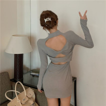 Dress Winter 2020 grey S,M,L Short skirt singleton  Short sleeve commute Crew neck High waist Solid color zipper One pace skirt routine Others 18-24 years old T-type Korean version Hollow out, open back, stitching 30% and below brocade polyester fiber