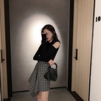 skirt Spring 2021 S,M,L,XL black Middle-skirt street High waist Umbrella skirt Solid color Type A 18-24 years old 51% (inclusive) - 70% (inclusive) other other Europe and America