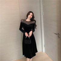 Dress Spring 2021 black S,M,L longuette singleton  Long sleeves commute V-neck High waist Solid color Socket A-line skirt routine Others 18-24 years old Type A court Stitching, bead nailing, mesh 30% and below velvet polyester fiber
