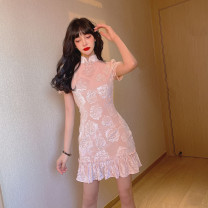 Dress Spring 2021 Pink S,M,L Short skirt singleton  Short sleeve commute stand collar High waist Solid color Socket A-line skirt puff sleeve Others 18-24 years old Type A Retro Lotus leaf edge 31% (inclusive) - 50% (inclusive) other polyester fiber