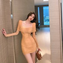 Dress Spring 2021 Card color S,M,L Short skirt singleton  Short sleeve commute V-neck High waist Solid color Socket A-line skirt routine Others 18-24 years old Type A Korean version Inlaid, pleated, stitched 30% and below brocade polyester fiber