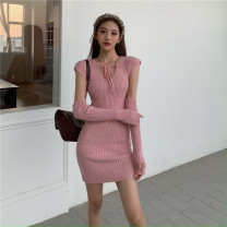 Dress Spring 2021 Blue, pink Average size Miniskirt Two piece set Long sleeves commute V-neck High waist Solid color Socket One pace skirt Sleeve Others 18-24 years old T-type Retro Splicing 30% and below knitting polyester fiber