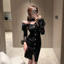 Dress Spring 2021 Red, black S,M,L Short skirt singleton  Long sleeves commute One word collar High waist Solid color Socket One pace skirt routine Breast wrapping 18-24 years old Type H Korean version Backless, stitching, zipper, lace 30% and below brocade polyester fiber