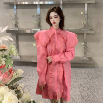 Dress Spring 2021 White, blue, pink Average size Short skirt singleton  Long sleeves commute Doll Collar Loose waist Solid color Single breasted other routine Others 18-24 years old T-type court Ruffles, stitching 30% and below brocade polyester fiber