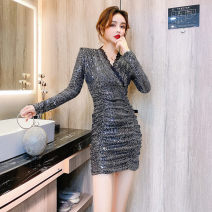 Dress Spring 2021 silvery S, M Short skirt singleton  Long sleeves commute V-neck High waist Solid color Socket One pace skirt routine 18-24 years old Type H Korean version Pleats, stitches, sequins 30% and below brocade polyester fiber