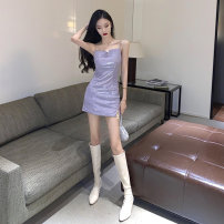 Dress Spring 2021 violet S,M,L Short skirt singleton  Sleeveless commute One word collar High waist Solid color zipper One pace skirt other camisole 18-24 years old T-type Other / other Korean version Hollow out, open back, chain 30% and below brocade polyester fiber