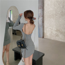 Dress Spring 2021 Grey, pink, black Average size Short skirt singleton  Long sleeves street Crew neck High waist Solid color Socket One pace skirt routine Others 18-24 years old T-type Open back, chain 30% and below brocade polyester fiber Europe and America