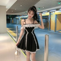 Dress Summer of 2019 Grey, pink, black S,M,L Short skirt singleton  Sleeveless commute High waist Socket Pleated skirt camisole 18-24 years old Other / other Korean version 31% (inclusive) - 50% (inclusive) Lace cotton