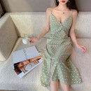 Dress Summer 2020 Bean green S,M,L Mid length dress singleton  Sleeveless commute V-neck High waist Dot zipper One pace skirt other camisole 18-24 years old T-type Korean version Pleating, backless, stitching, printing 30% and below brocade polyester fiber