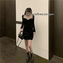 Dress Winter 2020 black S,M,L Miniskirt singleton  Long sleeves street square neck High waist Solid color Socket One pace skirt routine Others 18-24 years old T-type 30% and below Flannel polyester fiber Europe and America