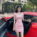 Dress Summer 2020 Pink, blue S,M,L Short skirt singleton  Short sleeve commute stand collar High waist Solid color A button Pencil skirt routine Others 18-24 years old T-type Korean version Hollowed out, chain, fold, stitching, button, zipper 31% (inclusive) - 50% (inclusive) brocade polyester fiber