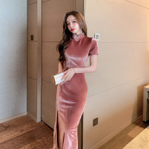 Dress Winter 2020 Dark pink S,M,L longuette singleton  Short sleeve commute stand collar High waist Solid color Socket One pace skirt routine Others 18-24 years old T-type court Panel, zipper 30% and below polyester fiber