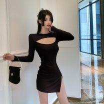 Dress Spring 2021 Blue, black, pink S,M,L Miniskirt singleton  Long sleeves commute Crew neck High waist Solid color Socket A-line skirt routine Others 18-24 years old Type A Ol style Hollowed out, stitched 51% (inclusive) - 70% (inclusive) other cotton