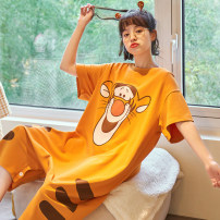 Pajamas / housewear set female Other / other M. L, XL, XXL, collection plus purchase priority delivery!!! cotton Short sleeve Cartoon Leisure home summer Thin money Crew neck Cartoon animation Socket youth one-piece garment rubber string More than 95% pure cotton printing DM851 200g and below