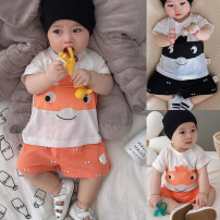 suit Babycity / Beibei City Black cartoon suit, orange cartoon suit 66cm,73cm,80cm,90cm,100cm currency summer leisure time Short sleeve + pants 2 pieces routine There are models in the real shooting Socket nothing Cartoon animation cotton children Expression of love XT1149 Class A Cotton 100%