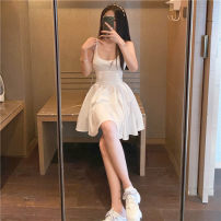 Dress Spring 2021 White s, white M Average size Short skirt singleton  Sleeveless V-neck High waist Solid color Socket A-line skirt routine camisole 18-24 years old Type A Other / other zipper 91% (inclusive) - 95% (inclusive) polyester fiber