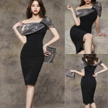 Dress Summer 2021 black S,M,L,XL Middle-skirt singleton  Short sleeve commute Slant collar middle-waisted Solid color zipper Pencil skirt other Oblique shoulder 25-29 years old Type H Korean version Splicing 31% (inclusive) - 50% (inclusive) brocade polyester fiber