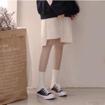 skirt Autumn of 2018 S,M,L White, Navy Short skirt Versatile High waist Irregular Solid color Type A More than 95% cotton