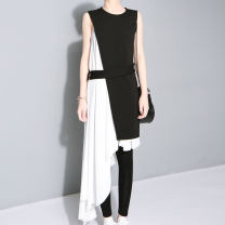 Dress Summer 2020 black S,M,L longuette Two piece set Sleeveless street Crew neck middle-waisted Solid color Socket Irregular skirt other Others 25-29 years old Type A Asymmetry 81% (inclusive) - 90% (inclusive) Chiffon polyester fiber Europe and America
