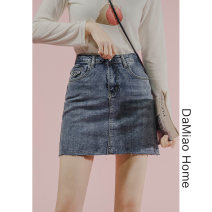 skirt Spring 2021 S,M,L,XL blue Short skirt commute High waist skirt Solid color Type A Denim cotton Pocket, asymmetric, worn, button, zipper Korean version