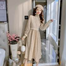 Dress Spring 2021 Apricot, brown S,M,L,XL longuette singleton  Long sleeves commute Half high collar High waist Solid color Socket A-line skirt routine Type A Korean version Splicing 71% (inclusive) - 80% (inclusive) Chiffon polyester fiber