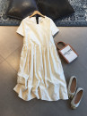 Dress Summer 2021 Beige S,M,L longuette singleton  Short sleeve commute Crew neck Solid color Socket other routine Others 25-29 years old Type A Britain More than 95% other polyester fiber
