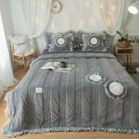 Bedding Set / four piece set / multi piece set Polyester (polyester fiber) Quilting Solid color 133X76 Other / other Polyester (polyester fiber) 4 pieces 40 grey 1.2m (4 ft) bed, 1.5m (5 ft) bed, 1.8m (6 ft) bed, 2.0m (6.6 ft) bed, others Bed skirt velvet