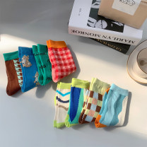 "Children's socks (0-16 years old) Medium socks ""Socks"" for kids - color contrast series, ""socks"" for kids - fresh milk 1-3, 3-5, 5-8 Other / other spring and autumn neutral Cotton 100% leisure time"