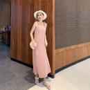 Dress Summer 2020 Tiffany blue, baby pink, vanilla grey green, grey apricot XS,S,M Mid length dress singleton  Sleeveless commute V-neck High waist Solid color Socket A-line skirt other camisole 25-29 years old Type A MC Simplicity bow M19278 71% (inclusive) - 80% (inclusive) cotton