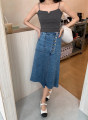 skirt Spring 2021 XS,S,M,L White, light blue Mid length dress commute High waist A-line skirt Solid color Type A 25-29 years old M211078 MC Simplicity