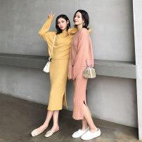 Fashion suit Autumn of 2019 Xs, s, m, average size Oatmeal shawl, yellow shawl, pink shawl, black shawl, oatmeal dress, yellow dress, pink dress, black dress, oatmeal coat, yellow coat, pink coat, black coat 25-35 years old MC M18355